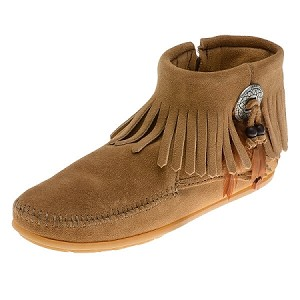 Minnetonka Moccasins 527T - Women's Concho/Feather Ankle Boot - Side Zip - Taupe Suede