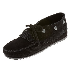 Minnetonka Moccasins 530 - Women's Fringed Moccasin - Black Suede
