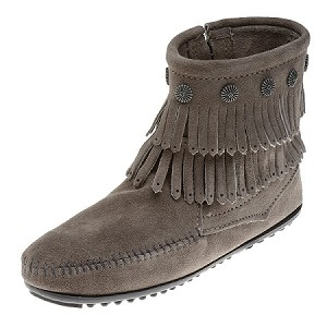 Minnetonka Moccasins 691T - Women's Double Fringe Boot - Side Zip - Grey Suede