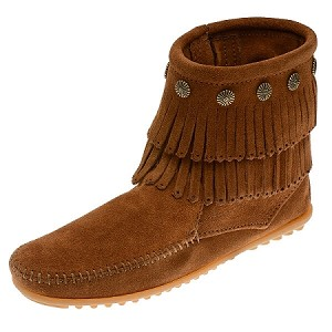 Minnetonka Moccasins 692 - Women's Double Fringe Boot - Side Zip - Brown Suede