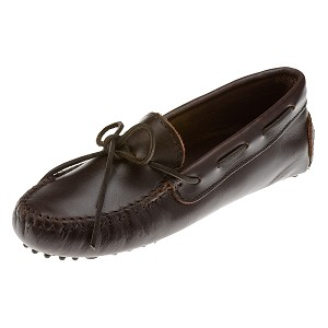 Minnetonka Moccasins 698 - Womens Smooth Leather Driving Moccasin - Dark Brown