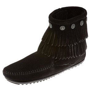 Minnetonka Moccasins 699 - Women's Double Fringe Boot - Side Zip - Black Suede