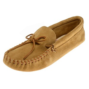 Minnetonka Moccasins 701 - Men's Laced Softsole Moccasin - Tan Suede Leather