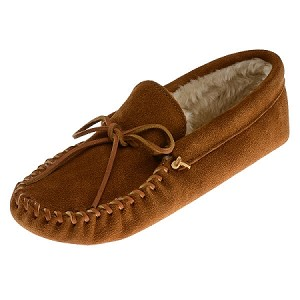 Minnetonka Moccasins 763 - Men's Pile Lined Softsole Slipper - Brown Suede