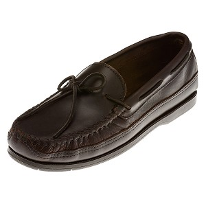 Minnetonka Moccasins 768 - Men's Smooth Leather Hardsole Moccasin - Dark Brown