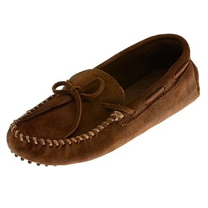 Minnetonka Moccasins 793 - Men's Rough Leather Cowhide Driving Moccasin - Brown