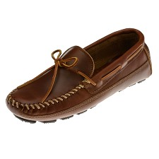 Minnetonka Moccasins 946 - Men's Driving Moccasin - Chestnut Lariat Double Bottom Cowhide
