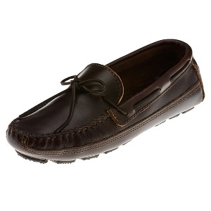 Minnetonka Moccasins 948 - Men's Driving Moccasin - Dark Brown Lariat Double Bottom Cowhide