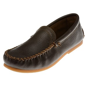 Minnetonka Moccasins 962 - Men's Venetian Slip-On Moccasin - Dark Brown Smooth Leather