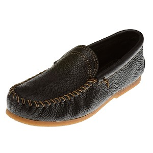 Minnetonka Moccasins 969 - Men's Venetian Slip-On Moccasin - Black Smooth Leather