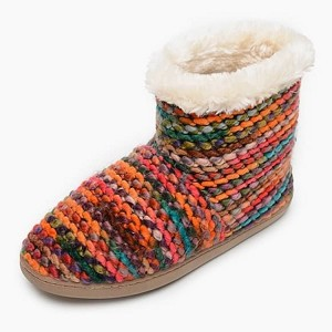 Minnetonka Moccasins 44048 - Women's Betty - Chunky Knit Slipper - Orange Knit