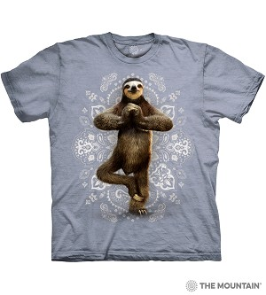 Namaste Sloth - 10-6287 - Adult Tshirt - Blue