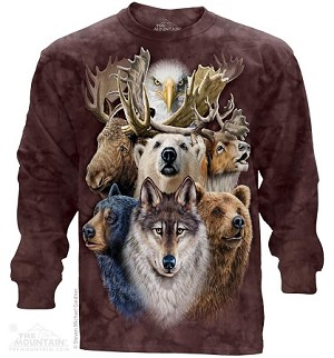 Northern Wildlife Collage - Adult Long Sleeve T-shirt