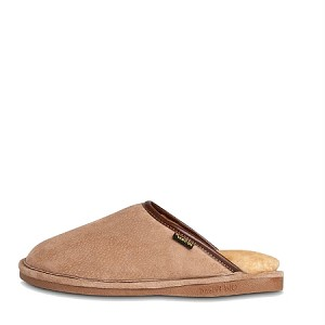 Old Friend Footwear - 421216 - Men's Sheepskin Scuff - Wide Width - 100% Sheepskin Lining - Chestnut/Stony Fleece