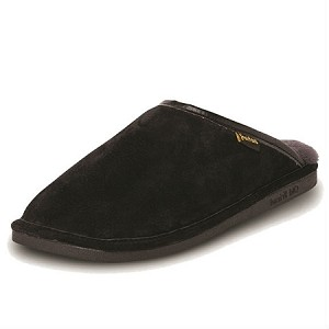 Old Friend Footwear - 421180 - Men's Sheepskin Scuff - 100% Sheepskin Lining - Black/Grey Fleece