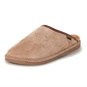 Old Friend Footwear - 421180 - Men's Sheepskin Scuff - 100% Sheepskin Lining - Chestnut/Stony Fleece