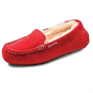 Old Friend Footwear - 441310 - Women's Sheepskin Bella Moccasin - Ruby Red