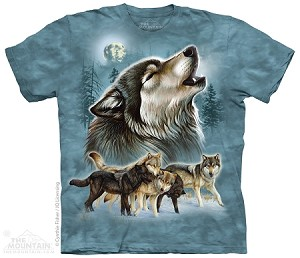 Old School Wolf Collage - Adult Tshirt