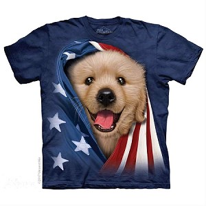 Patriotic Golden Pup - 10-5905 - Adult Tshirt