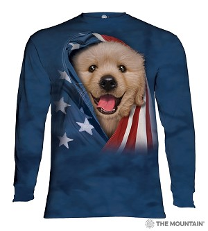 Patriotic Golden Retriever Puppy - 45-5905 - Adult Long Sleeve T-shirt