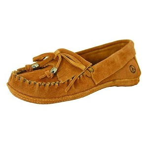 Peace Moccasins - Women's Megan Softsole Kilty Moccasin - Tan Suede