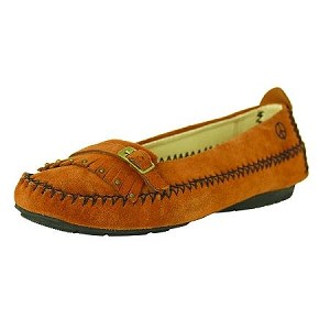 Peace Moccasins - Women's Emily Hardsole Moccasin - Tan Suede
