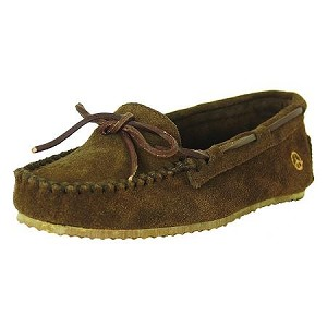 Peace Moccasins - Women's Tabitha Hardsole Moccasin - Chocolate Suede