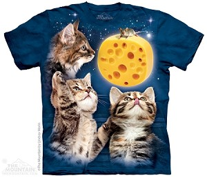 Three Kitten Cheese Moon - Adult Tshirt