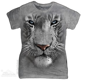 White Tiger Face - Ladies Fitted Tee