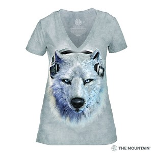 White Wolf DJ - 41-3518 - Women's Triblend V-Neck Tee