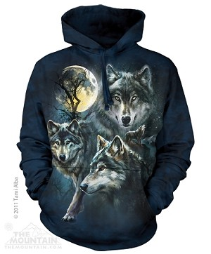 Moon Wolves Collage - 72-3309 - Adult Hoodie